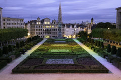 Brussels at night. Brussels, Belgium, at dusk, night, with the gardens of the mountain of art being lit by different colors of light Stock Image