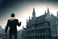Brussels night. Elements of this image furnished by NASA Royalty Free Stock Photo