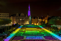 Brussels Night Lights Stock Photography