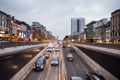 BRUSSELS - NOVEMBER 25, 2017: Porte de Namur tunnel in Brussels photographed at dusk. Royalty Free Stock Photo
