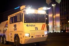 BRUSSELS - NOVEMBER 25, 2017: Riot police restoring order in Brussels after a peaceful protest against slavery became violent. BRUSSELS - NOVEMBER 25: Riot Stock Images