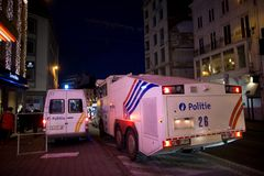 BRUSSELS - NOVEMBER 25, 2017: Riot police restoring order in Brussels after a peaceful protest against slavery became violent. BRUSSELS - NOVEMBER 25: Riot Royalty Free Stock Photos