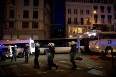 BRUSSELS - NOVEMBER 25, 2017: Riot police restoring order in Brussels after a peaceful protest against slavery became violent. BRUSSELS - NOVEMBER 25: Riot Stock Photography