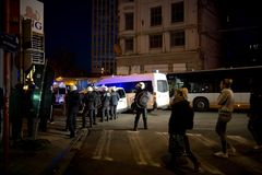 BRUSSELS - NOVEMBER 25, 2017: Riot police restoring order in Brussels after a peaceful protest against slavery became violent. BRUSSELS - NOVEMBER 25: Riot Stock Photo