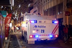BRUSSELS - NOVEMBER 25, 2017: Riot police restoring order in Brussels after a peaceful protest against slavery became violent. BRUSSELS - NOVEMBER 25: Riot Royalty Free Stock Image