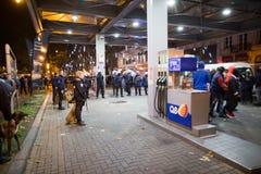 BRUSSELS - NOVEMBER 25, 2017: Riot police restoring order in Brussels after a peaceful protest against slavery became violent. Stock Photography