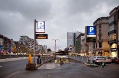 BRUSSELS - NOVEMBER 25, 2017: Subterranean parking entrance at Porte de Namur, Brussels. Stock Photo