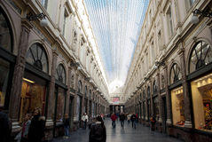 Galeries St. Hubert in Brussels. BRUSSELS - OCTOBER 15: Evening in the Royal Galleries of St-Hubert,opened in 1847, are predating other famous similar passages stock images