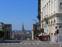 Brussels old downtown cityscape. View on Brussels old downtown skyline with the Town Hall and the Basilique of Koekelberg Royalty Free Stock Images