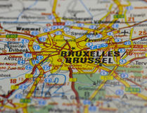 Brussels Old Road Map Stock Image