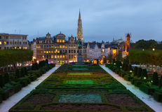 Brussels old town cityscape at night Royalty Free Stock Photo