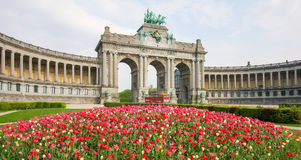 Brussels - Parc du Cinquantenaire in the European Quarter. The Triumphal Arch & x28;Arc de Triomphe& x29; in the Parc du Cinquantenaire or Jubelpark in the Stock Photography