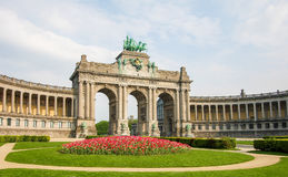Brussels - Parc du Cinquantenaire in the European Quarter. The Triumphal Arch & x28;Arc de Triomphe& x29; in the Parc du Cinquantenaire or Jubelpark in the Stock Photo