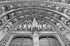 Brussels - portal of Notre Dame du Sablon gothic church Royalty Free Stock Photo