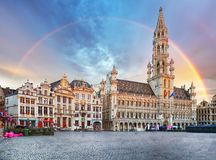 Brussels, rainbow over Grand Place, Belgium, nobody.  stock photos