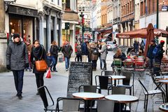 Brussels restaurant. BRUSSELS, BELGIUM - NOVEMBER 19, 2016: People visit Brussels restaurant area. Brussels is the capital city of Belgium. 1.8 million people Stock Images