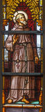 Brussels - Saint Francis of Assisi on windwopane from 19. cent. in the cathedral of st. Michael and st. Gudula. royalty free stock photo