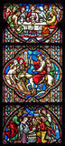 Brussels - Scene from Jesus life on the windowpane Stock Photography