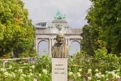 brussels schuman staty Arkivbilder