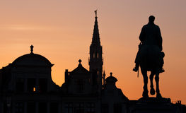 Brussels - Silhouette of king Albert statue and tower of town hall from Monts des Arts Stock Image