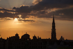 Brussels - Silhouette from Monts des Arts Stock Images