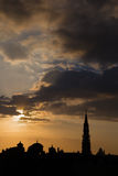 Brussels - Silhouette from Monts des Arts Stock Photography