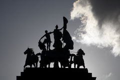Brussels - silhouette of statue on the summit of Triumphal Arch Stock Photos