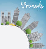 Brussels skyline with grey building, blue sky and copy space Royalty Free Stock Photography
