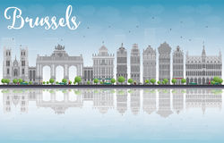 Brussels skyline with Ornate buildings of Grand Place and reflec Stock Photo