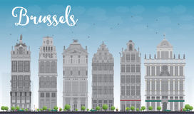 Brussels skyline with Ornate buildings of Grand Place Stock Photo