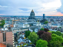 Brussels Skyline at Sunset. Aerial view of the Brussels city skyline at sunset in Belgium stock photo