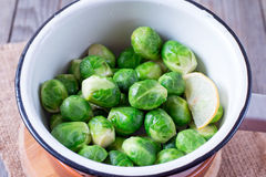 Brussels sprout in the colander Stock Image