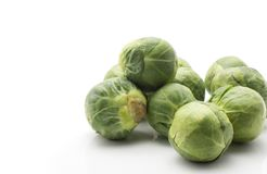 Raw Brussels sprout isolated. Brussels sprout heads isolated on white background fresh raw Stock Images