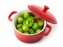 Brussels sprout and herbs in the pan Stock Photo