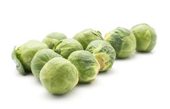 Raw Brussels sprout isolated. Brussels sprout isolated on white background fresh set Royalty Free Stock Image