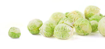 Brussels sprout  scattered on the white background Stock Photos