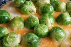 Brussels sprouts. The Brussels sprouts is fried in an omelette Stock Images