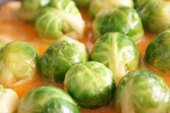 Brussels sprouts. The Brussels sprouts is fried in an omelette Stock Photos