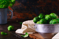 Brussels sprouts in an aluminum pan Royalty Free Stock Photography