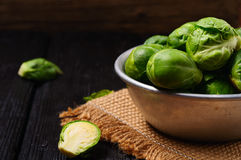 Brussels sprouts in an aluminum pan Royalty Free Stock Image