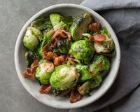 Brussels Sprouts and Bacon. A bowl of Brussels Sprouts and Bacon Royalty Free Stock Photo
