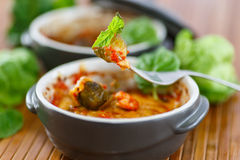 Brussels sprouts baked in tomato sauce Stock Photos