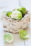 Brussels sprouts in a basket Stock Photos