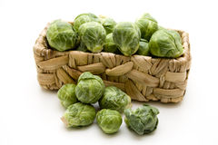 Brussels sprouts in the basket Stock Images