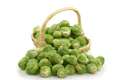 Brussels sprouts in a basket Stock Photo