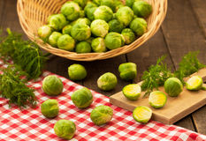 Brussels sprouts in basket Royalty Free Stock Images