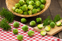 Brussels sprouts in basket Royalty Free Stock Photos