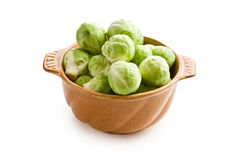 Brussels sprouts in bowl. On white background Stock Photography