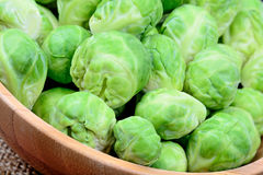 Brussels sprouts in a bowl. On table Royalty Free Stock Images