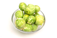 Brussels sprouts on bowl Stock Image